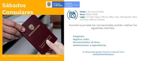 Jornada de Sábado Consular este 7 de marzo organizada por Consulado de Colombia