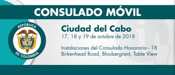 Consulado de Colombia en Pretoria estará con su unidad móvil en Ciudad del Cabo del 17 al 19 de octubre de 2018