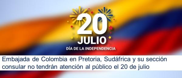 Embajada de Colombia en Pretoria, Sudáfrica y su sección consular no tendrán atención al público el 20 de julio de 2020